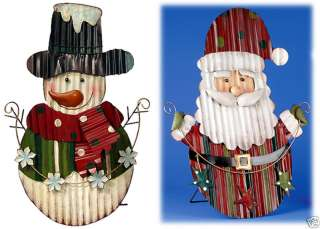 Metal Tin Santa Snowman Standing Sign Christmas Yard Decor 23 NEW