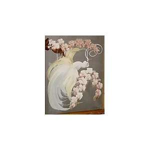 White Bird with Flowers, Stephone Artist Signed Oil