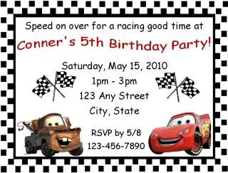 Personalized Cars Birthday Party Invitations