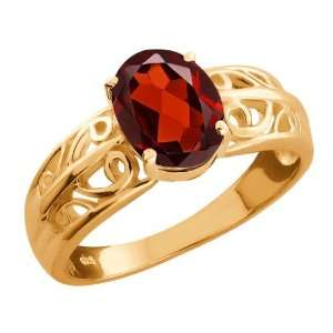 1.40 Ct Oval Red Garnet Gold Plated Sterling Silver Ring