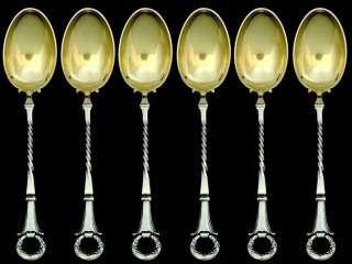 CHRISTOFLE Rare French Silver Spoons 12 pc Empire w/box