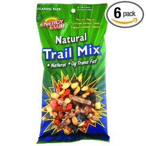 Energy Club Natural Trail Mix, 7.5 Ounce Bags (Pack of 6):