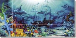Miller tropical seascape beach art ceramic tile mural for Dolphin tile mural