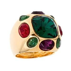 Kenneth Jay Lane   Gold Multi Gem Ring with Emerald Centre