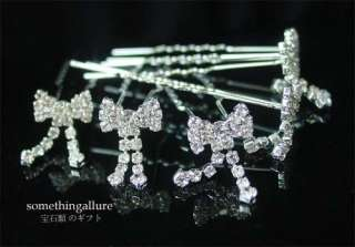 6PCS WEDDING BRIDAL VEIL CRYSTAL FLOWER HAIR PINS RP44