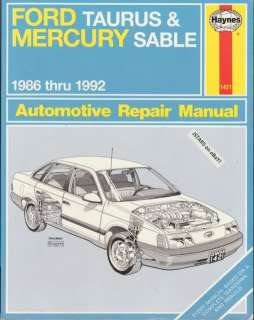 1986 1987 1988   1990 1991 1992 FORD TAURUS, MERCURY SABLE REPAIR