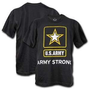 US ARMY STRONG BLACK SINGLE MILITARY GRAPHIC T SHIRT