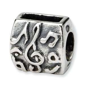 .925 Sterling Silver Treble Clef & Notes Bead Jewelry