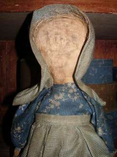 Early Antique Style Primitive Prairie Rag Doll in Blue Fabrics Arnett