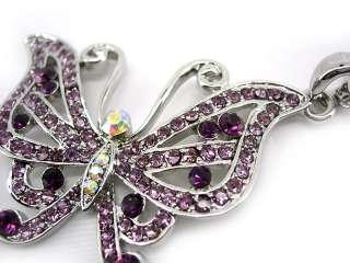 Twinkling Light Purple Butterfly Czech Crystal Necklace