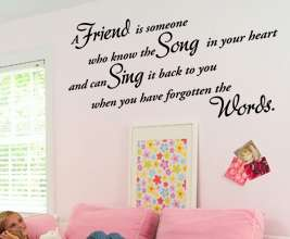 Vinyl Wall Sticker Art Decor Quote Friendship Decal Friend Song Heart