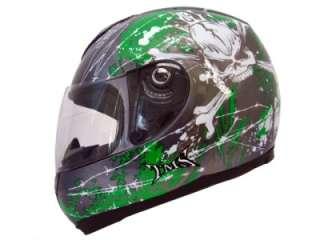 GREY/GREEN SKULL X BONE FULL FACE MOTORCYCLE HELMET ~ S