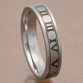 6mm Roman Numerals Etched Tungsten Carbide Ring Mens Wedding Band