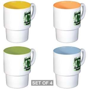 Stackable Coffee Mugs (4) Shamrock Pub Luck of the Irish