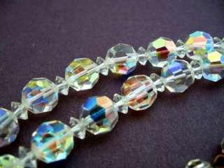 AB VINTAGE CRYSTAL GLASS NECKLACE GRADUATED 18 LONG
