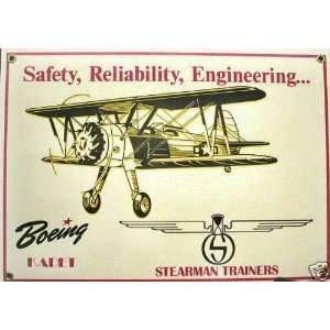 Boeing Kadet Stearman Trainers Aviation Porcelain Sign