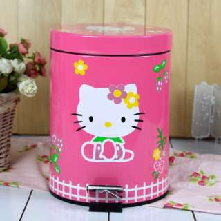 Hello Kitty Trash Can Waste Container Basket Garbage Refuse Bin