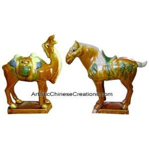 Oriental Gifts   Tri color Tang Pottery Horse & Camel Home & Kitchen
