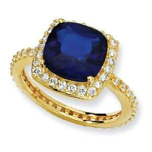 Gold plated Sterling Silver Rose cut Synth Sapphire CZ Square Ring