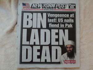 BIN LADEN DEAD NEWSPAPER MAY 2 NEW YORK POST