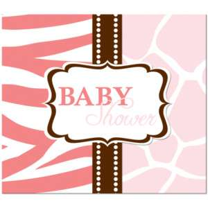 Wild Safari Pink Baby Shower Party Invitations 073525925011