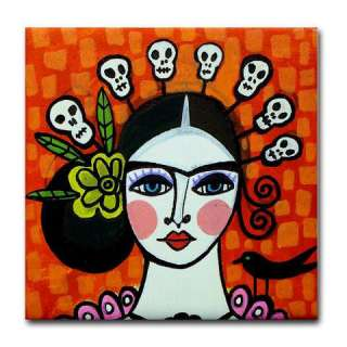 MEXICAN TILES Day of The Dead   Mexican Folk Art Ceramic Tile  Mexican