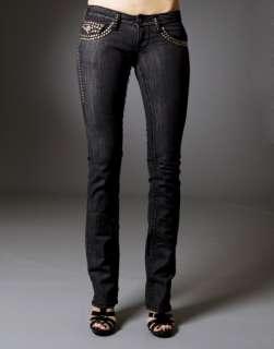 Laguna Beach Jeans Womens BBB Black STUD Straight LEG