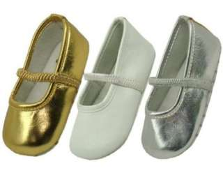 Gold, Silver & White ballet flats for a little princess Szs 3, 4, 5