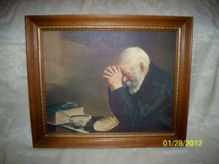 HOME INTERIOR HOMCO FRAMED PICTURE GRACE OLD MAN PRAYING GIVING THANKS