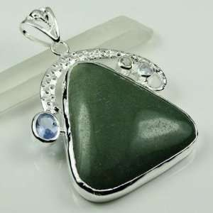 BIG NATURAL GREEN AVENTURINE AMETHYST GEMSTONE GIFT NECKLACE PENDANT
