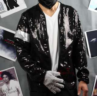 Michael Jackson Billie Jean Sequin Jacket W/ Armband MJ Costume COAT