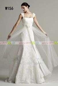 Cap sleeve White Custom Lace Beach Wedding Gown Bridal Dress New Free