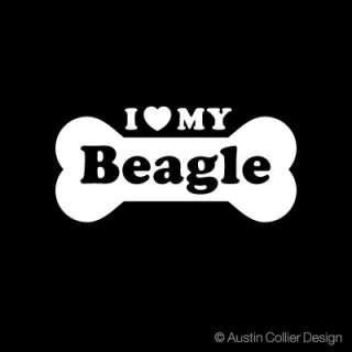 LOVE MY BEAGLE Vinyl Decal Car Sticker   Dog Breeds