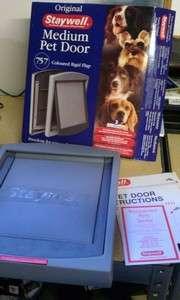 NEW Staywell Medium Grey Pet Dog Door 757 Coloured Rigid Flap 40014