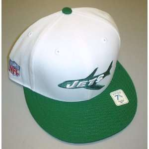 New York Jets Vintage Collection Fitted Flat Bill Reebok Hat Size 7 5