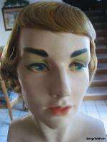 Vintage Mannequin Head Bust Torso w Wig Art Deco Beauty Flapper