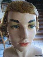 Vintage Mannequin Head Bust Torso w Wig Art Deco Beauty Flapper