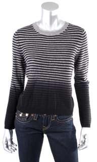 Theory Womens Light Heather/Black Long Sleeve Cashmere Sweaters Sz M