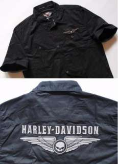 HARLEY DAVIDSON MEN BLACK SHIRT MEDIUM D78BK M
