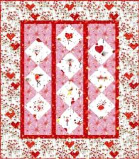 Valentines Hearts Quilt Fabric Kit ~ Pink Red and White