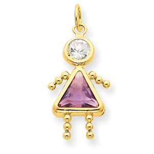 14k Gold June Girl Birthstone Charm: Jewelry