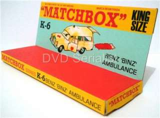 Lesney MATCHBOX Diecast KING SIZE K 6 BENZ BINZ AMBULANCE Custom Box