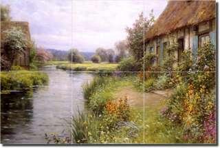 Knight River Flowers Landscape Ceramic Tile Mural Art