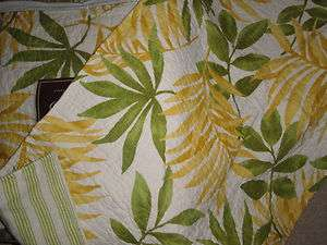 Yellow Green KING 3p QUILT SET New PALM TREE Tropical Hawaiian