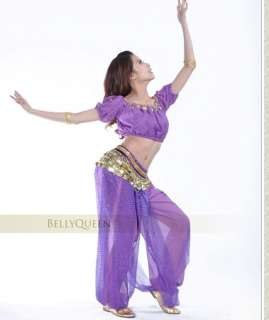FANCYQUBE SEXY SEQUIN BELLY DANCE COSTUME TOP +SEQUIN BALLON PANTS BD