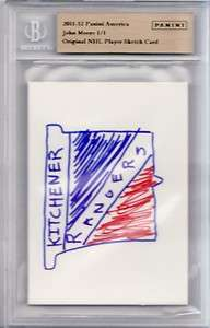 2011 12 Panini Original NHL Player Sketch Card 1/1 John Moore Auto