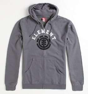 Element University Mens Gray Zip Hoodie Fleece Sweatshirt New NWT