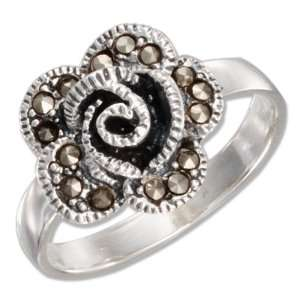 Sterling Silver Marcasite Blooming Flower Ring (size 06) Jewelry