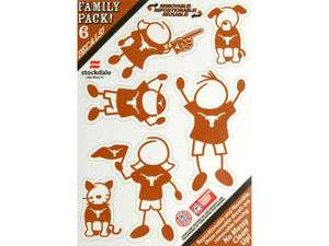 TEXAS LONGHORNS Logo NCAA 6pk FAMILY Car Decal Set NEW