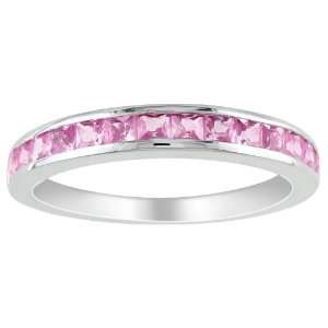 Sterling Silver 3/4 CT TGW Created Pink Sapphire Eternity